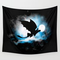toothless Wall Tapestries featuring Toothless Night Flight by MajesticSeahawk Designs