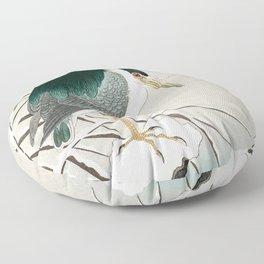 Heron in snow - Japanese vintage woodblock print art Floor Pillow
