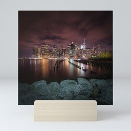 MANHATTAN SKYLINE Evening Atmosphere in New York City Mini Art Print