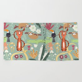 Rain forest animals 001 Beach Towel