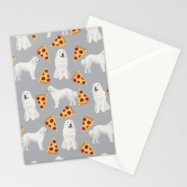 Great Pyrenees pizza dog portrait custom dog breed art print dog person gifts for christmas Stationery Cards