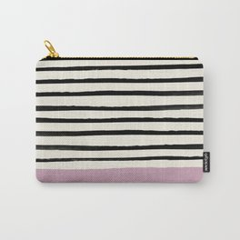 Dusty Rose & Stripes Carry-All Pouch