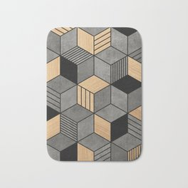 Concrete and Wood Cubes 2 Bath Mat