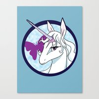 the last unicorn Canvas Prints featuring Last Unicorn by AriesNamarie