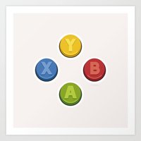 xbox Art Prints featuring Xbox - Buttons by dudsbessa