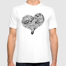 Blu Heart Mens Fitted Tee White SMALL
