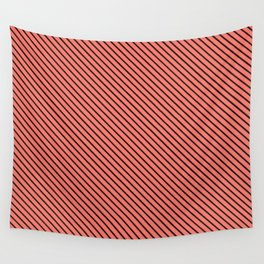 Peach Echo and Black Stripe Wall Tapestry