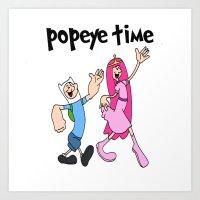 popeye Art Prints featuring popeye time by Chiaris