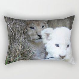 White and Gold Baby Lion Cubs! Rectangular Pillow