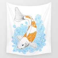 koi fish Wall Tapestries featuring Koi fish  by Art & Be