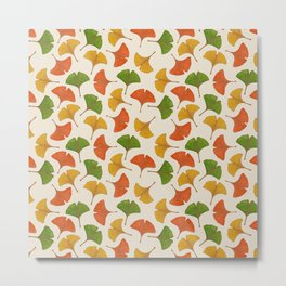 Fall ginkgo biloba leaves pattern Metal Print