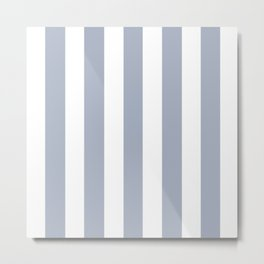 Cadet blue (Crayola) - solid color - white vertical lines pattern Metal Print