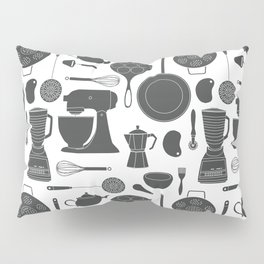 Kitchen Tools (black on white) Pillow Sham