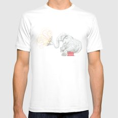 One Elephant Band White MEDIUM Mens Fitted Tee