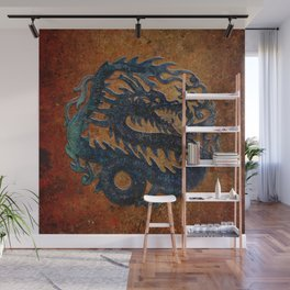 Blue Chinese Dragon on Stone Background Wall Mural