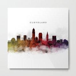 Cleveland Watercolor Skyline Metal Print