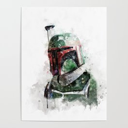 Boba Fett watercolor Poster