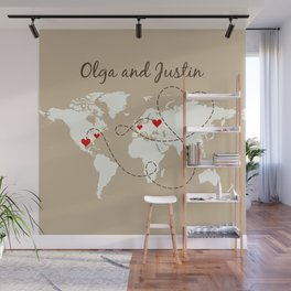 Personalized World Map Love Story Wall Mural