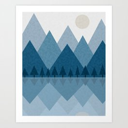 Calming Winter Abstract Geometric Mountains and Pine Trees with Reflections in Blue and Beige Tones Art Print