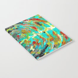 psychedelic circle pattern painting abstract background in green blue yellow brown Notebook