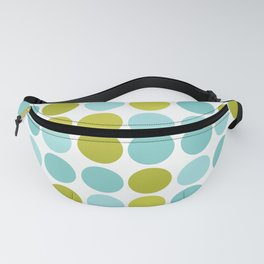 The pattern Green -  blue  polka dots. Fanny Pack