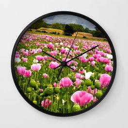 Poppy fields in Holland Wall Clock