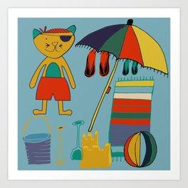 cat at the beach blue Art Print