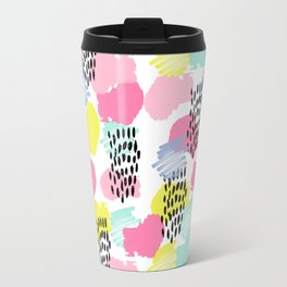 Bright happy painted pattern nursery baby gifts black and white spring summer home decor Travel Mug