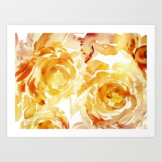 Sunny Day Painterly Floral Abstract Art Print