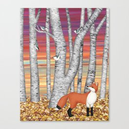 nuthatches and fox in the birch forest Canvas Print
