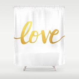 Love Gold Shower Curtain