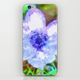 Blue Anemone Watercolor iPhone Skin