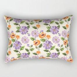 Rustic orange lavender ivory floral illustration Rectangular Pillow