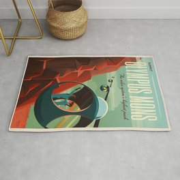 Mars Retro Space Travel Poster Rug