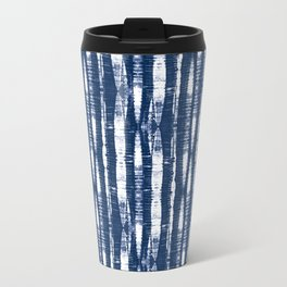 Shibori Stripes Indigo Blue Travel Mug