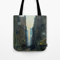 nan lawson Tote Bags featuring New York Street Scene - Ernest Lawson by BravuraMedia
