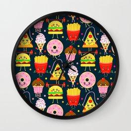 Fit Fast Food (Navy) Wall Clock