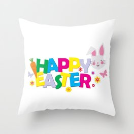 Cute Happy Easter Bunny Rabbit Carrot Colors product Throw Pillow