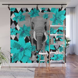 ELEPHANT and HARLEQUIN BLUE AND GRAY Wall Mural