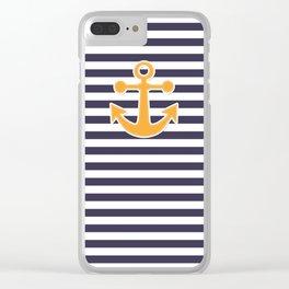 Blue , white , striped Clear iPhone Case