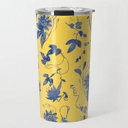 Elegant Blue Passion Flower on Mustard Yellow Travel Mug