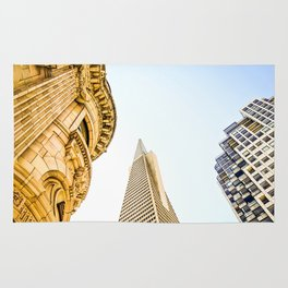 pyramid building and modern building and vintage style building at San Francisco, USA Rug