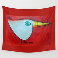 birdy Wall Tapestries featuring Birdy Blue by SheThinksinColors