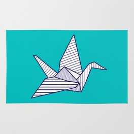 Swan, navy lines on turquoise Rug