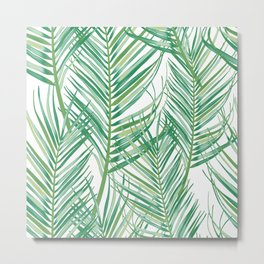 Jungle Fever Green Leaves Metal Print