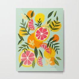 Grapefruit Blooms – Mint Palette Metal Print