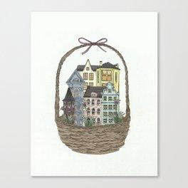 Basket town, city, homes Canvas Print