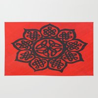 celtic Area & Throw Rugs featuring Celtic Flower by Alyssa Vielee