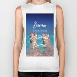 Dream Your Most Wonderful Dreams - Ocean Beach Swim Biker Tank