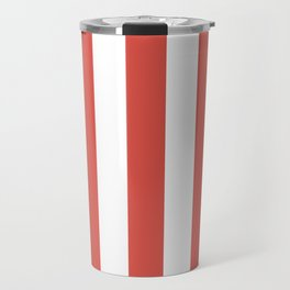 Lychee red - solid color - white vertical lines pattern Travel Mug